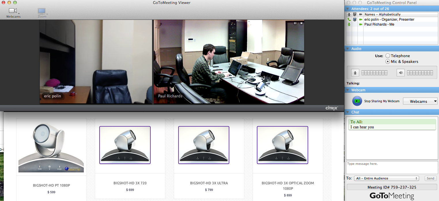 bigshot-HD Cameras using GoToMeeting