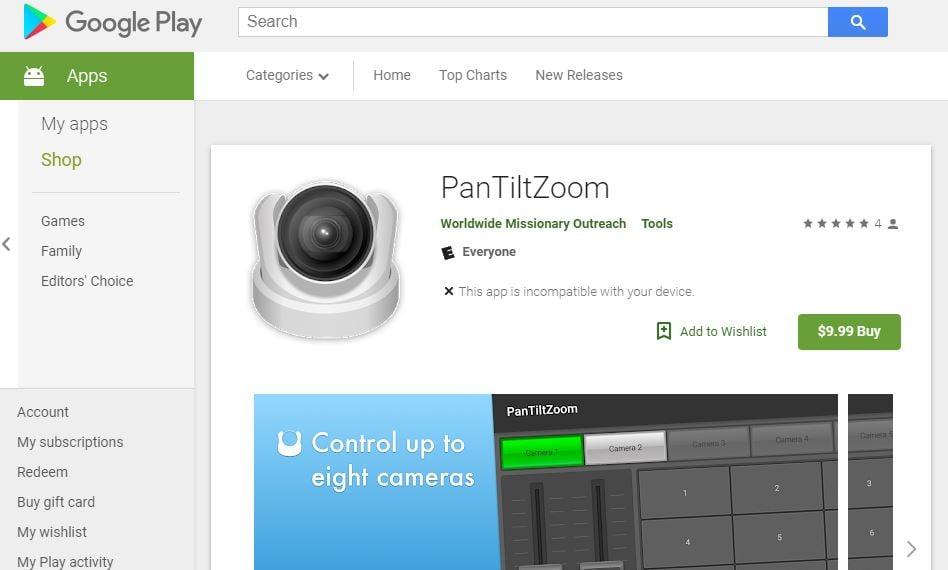 PTZ Optics Android App