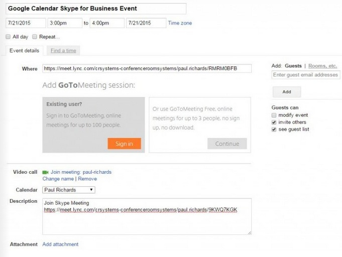 How to Schedule a Skype for Business meeting with Google